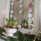 Songbird Christmas Mantel Decor in red and white