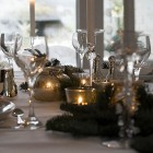Christmas table setting silver green