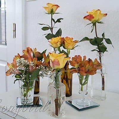 flower bouquet in vintage bottle collection