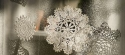 faux window ice flowers made with doilies