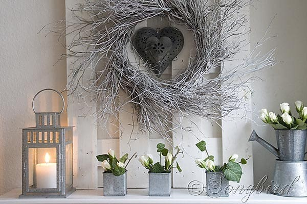Songbird Winter Mantel Display White Twig Wreath 4