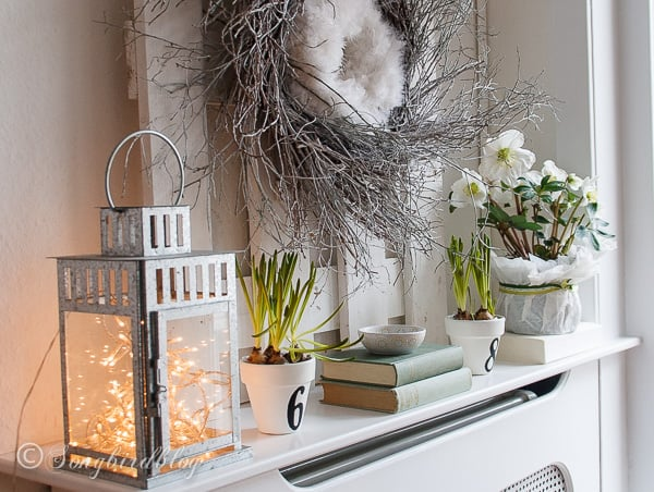 Spring Mantel Idea Combine Two Wreaths