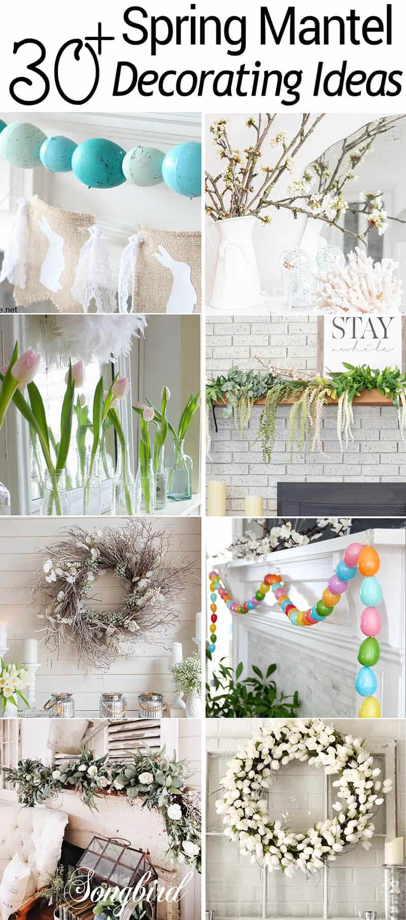 collage image of Spring mantels