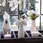 white vases and flowers Spring decorating