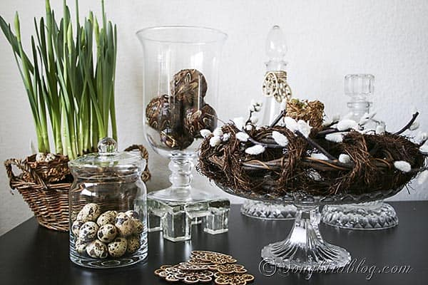 Spring decoration with apothecary jars