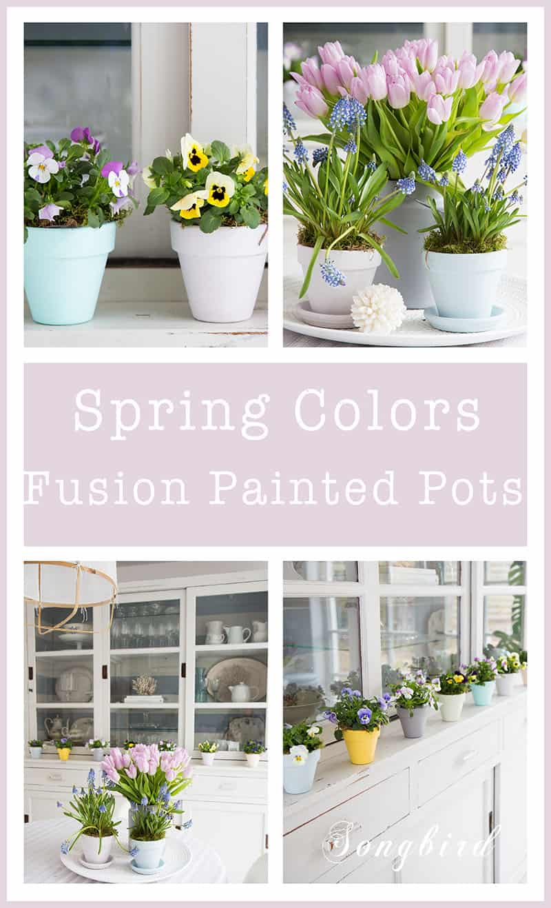 Spring decorating with flowers in painted pots in lovely colors. #Spring #decor #tulips #flowers #pots #fusion #paint
