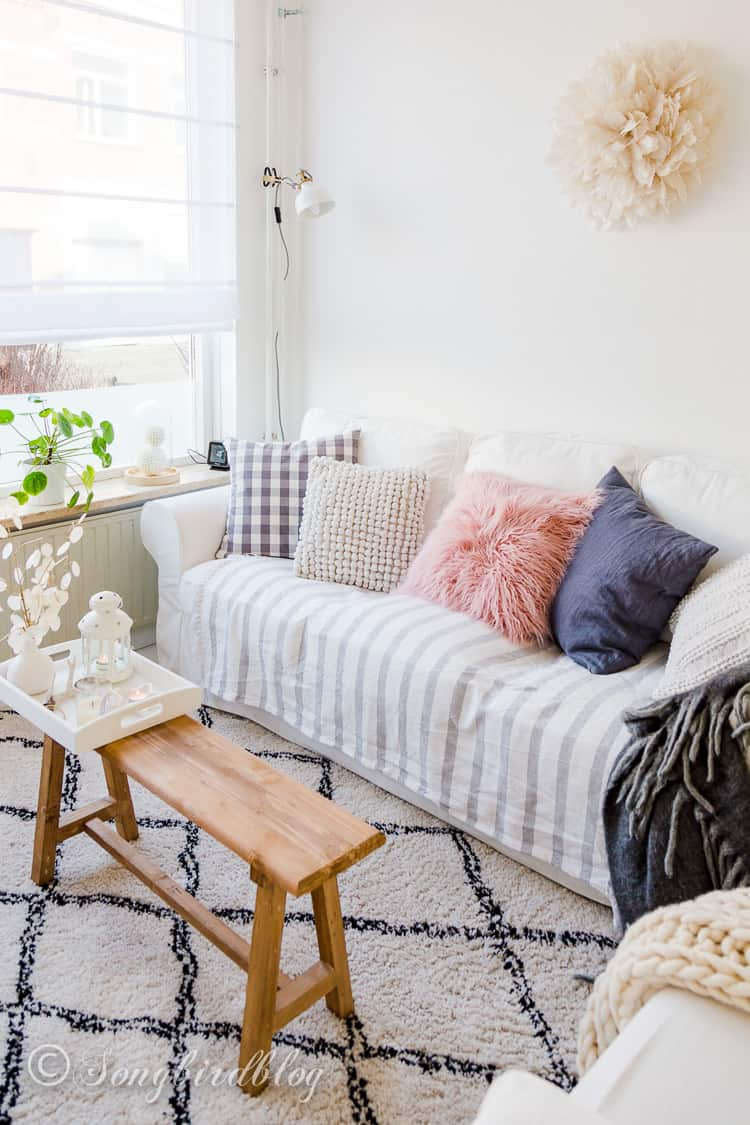 white living room with beach accents and touch of Spring