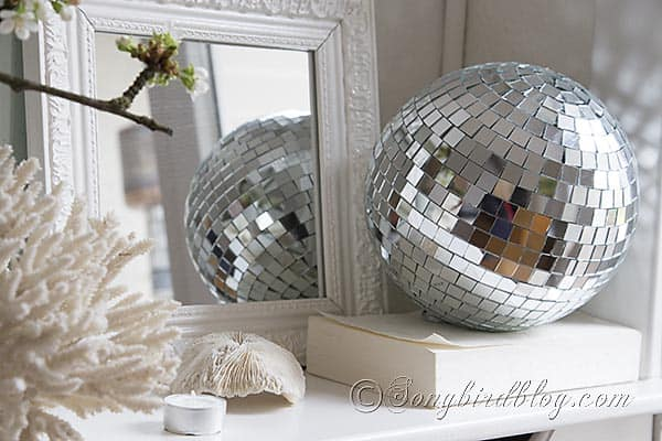 Disco Balls Decorations Entrancing Spring Mantel Decoration With Cherry Blossoms And A Disco Ball Inspiration