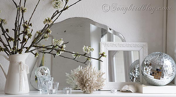 Disco Balls Decorations Prepossessing Spring Mantel Decoration With Cherry Blossoms And A Disco Ball Inspiration Design