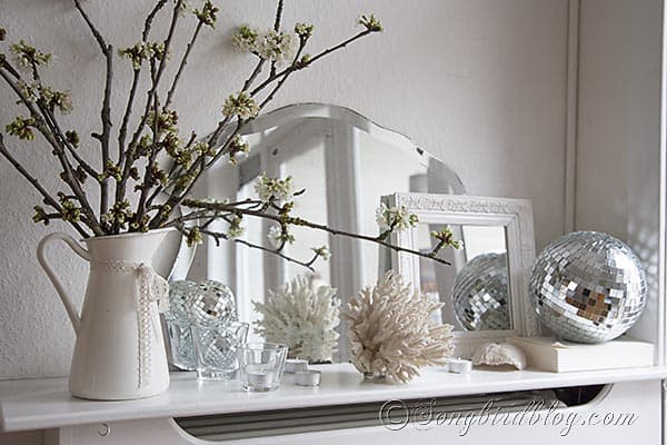 Disco Ball Decoration Delectable Spring Mantel Decoration With Cherry Blossoms And A Disco Ball Design Inspiration