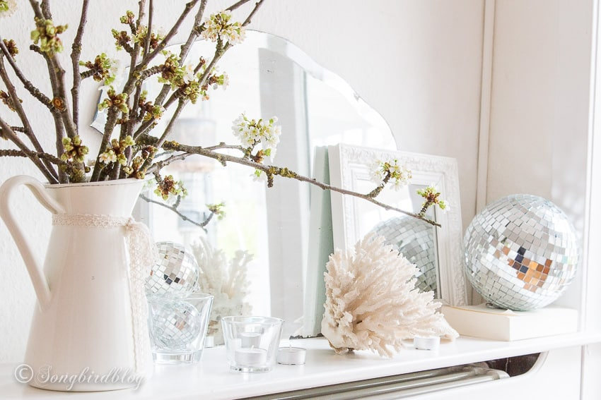 Spring mantel decor in white