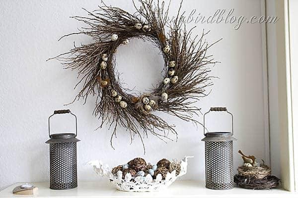 Spring mantel decoration twig wreath