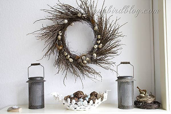 Spring mantel decoration twig wreath
