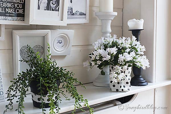 Spring mantel in black and white with a layered photo frame wall 3