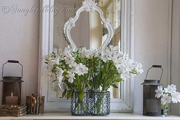 Spring white mantel decoration