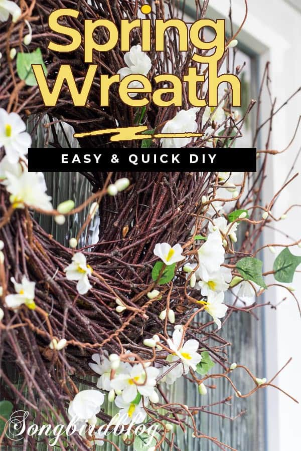 Spring wreath with text overlay