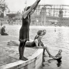 vintage image female swimmer
