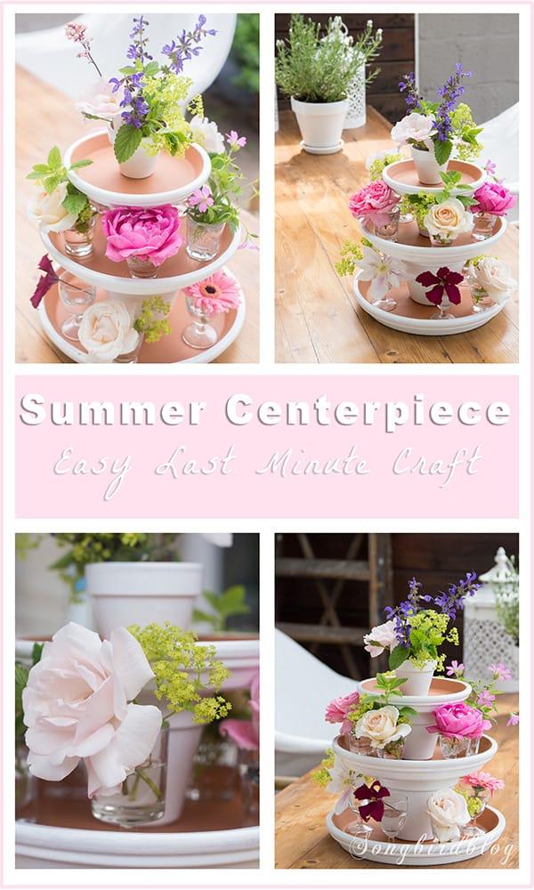 easy summer centerpiece garden table with flower decoration