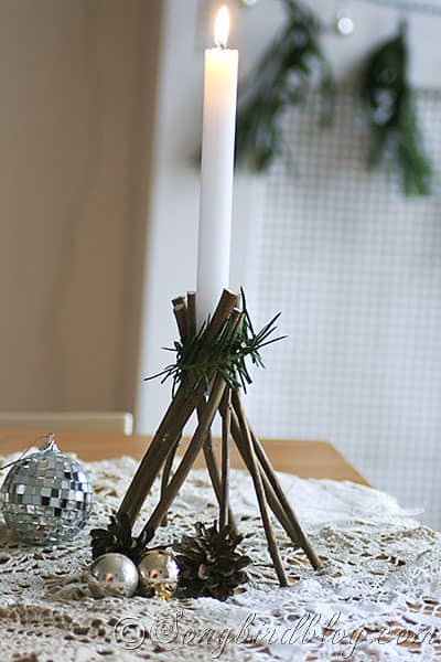 how to make stars and candle sticks for Christmas with twigs and natural elements (2)