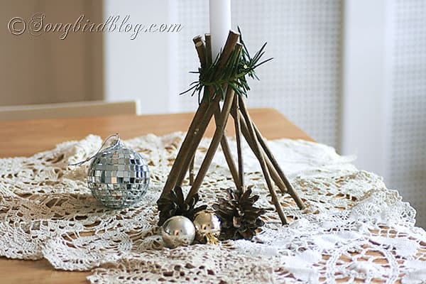 how to make stars and candle sticks for Christmas with twigs and natural elements (1)