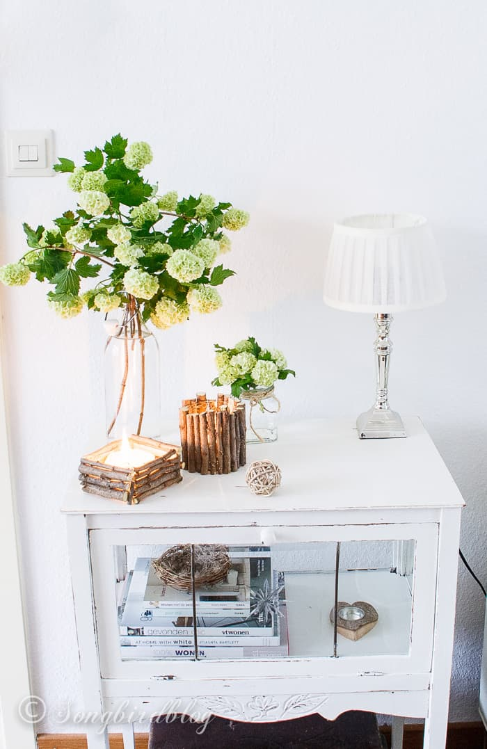 DIY twig candle holders made from garden clippings