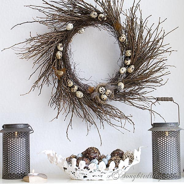 Twig wreath with lanterns for Spring www.songbirdblog.com