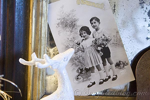 vintage Christmas card in mirror