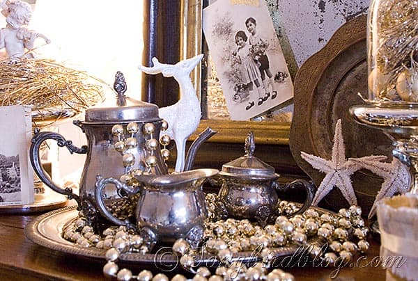 silver and gold vintage Christmas decoration center piece