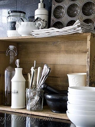 wine box in kitchen as decorative display