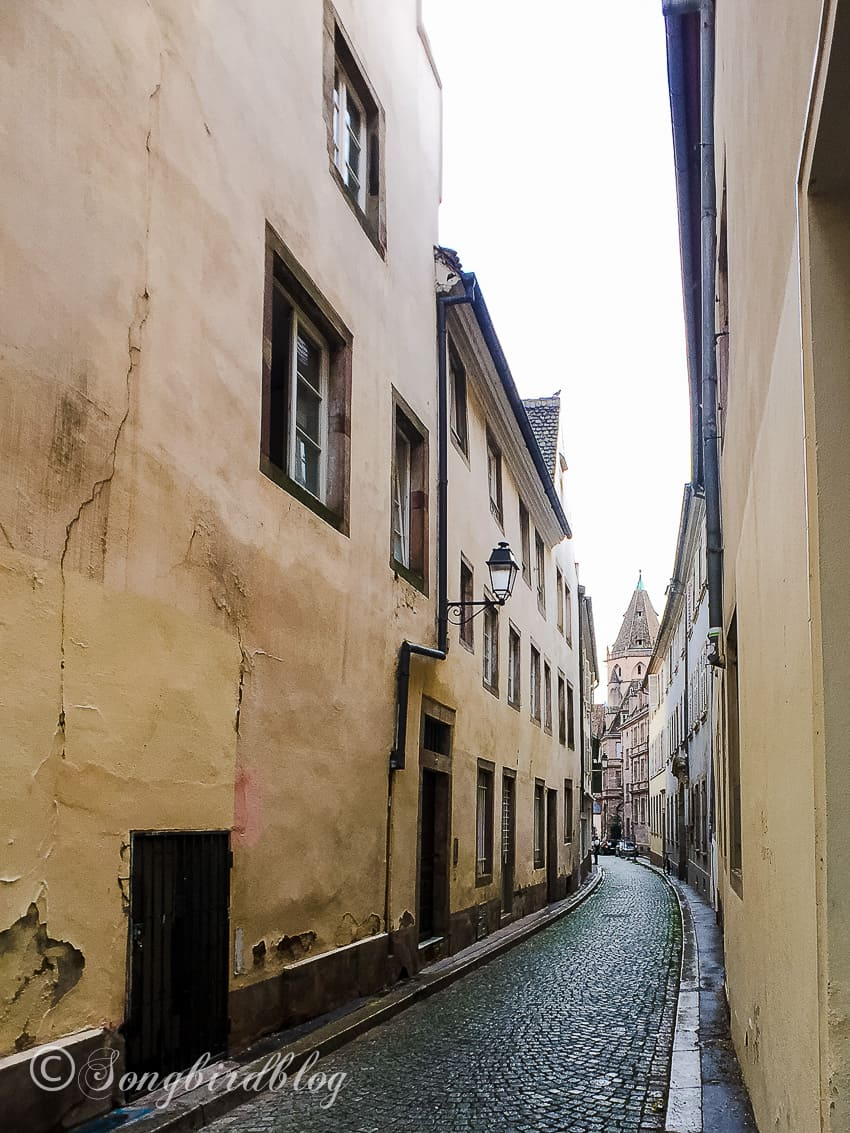 Strasbourg, France, narrow cobbled street