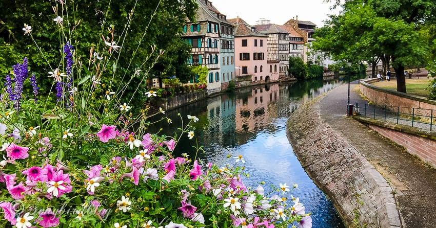 Strasbourg, France, View from bridge with flowers and colorful houses
