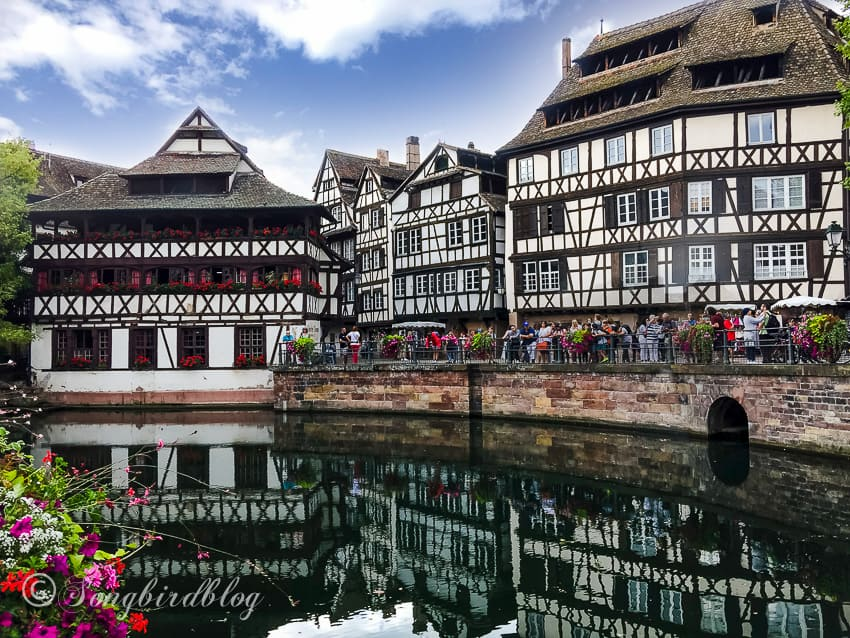 Strasbourg, France, old houses over canal in petite France