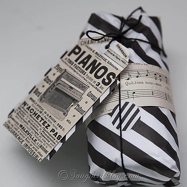 combine modern black and white gift wrap with vintage papers  for an original gift wrapping. Songbirdblog.com