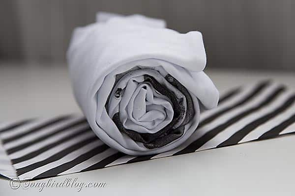 A creative way to gift wrap a t-shirt