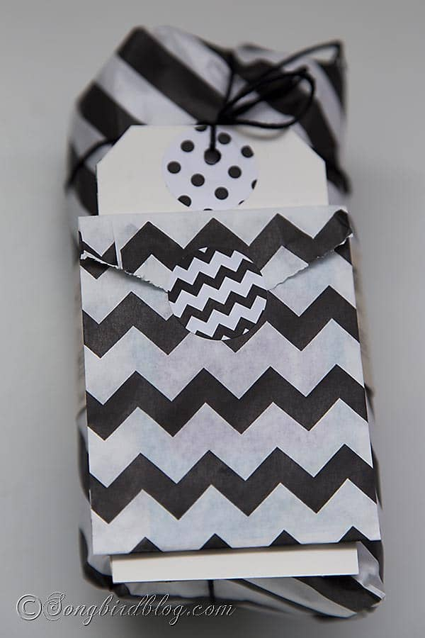 black and white gift wrap with modern papers