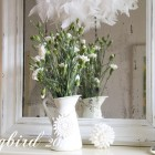 winter mantel decoration with flowers