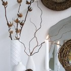 Mantel decoration in white and brown
