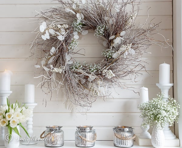 White Winter Mantel With A Touch Of Spring Songbird