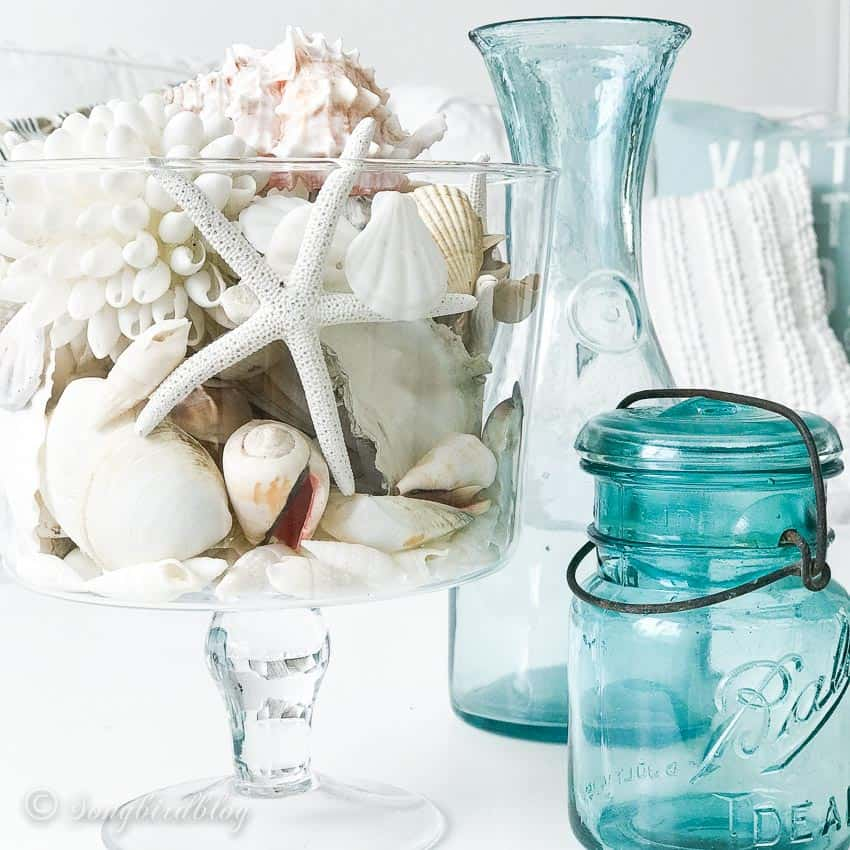Coastal decor in triffle jar