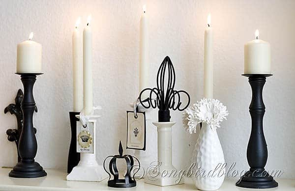 black white mantel decoration candles