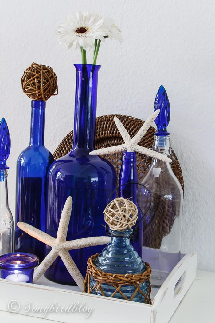 Blue Bottles Beach Decor That Is Lovely