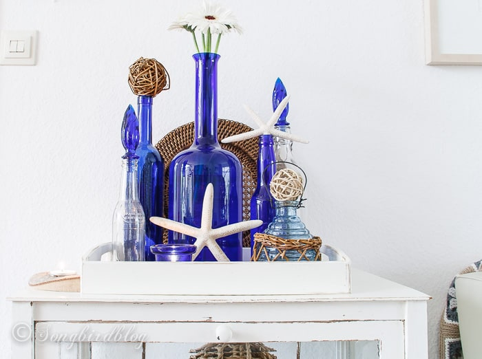 blue bottles beach decor