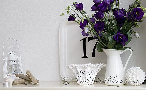 blue white mantel decoration summer