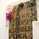Jewelry Organizer made with a burlap coffee sack and an old frame. Lovely and functional. Via http://www.songbirdblog.com