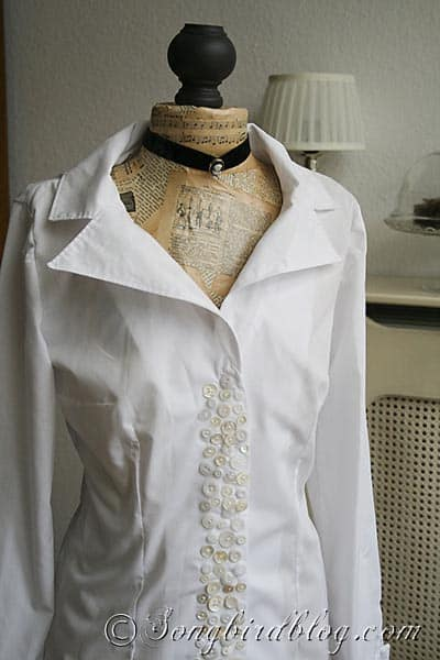 personalise blouse with mother of pearl buttons