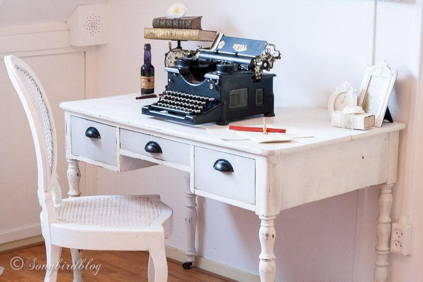 vintage desk painted with chalk paint