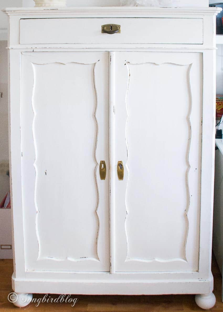 white wardrobe painted with chalk paint
