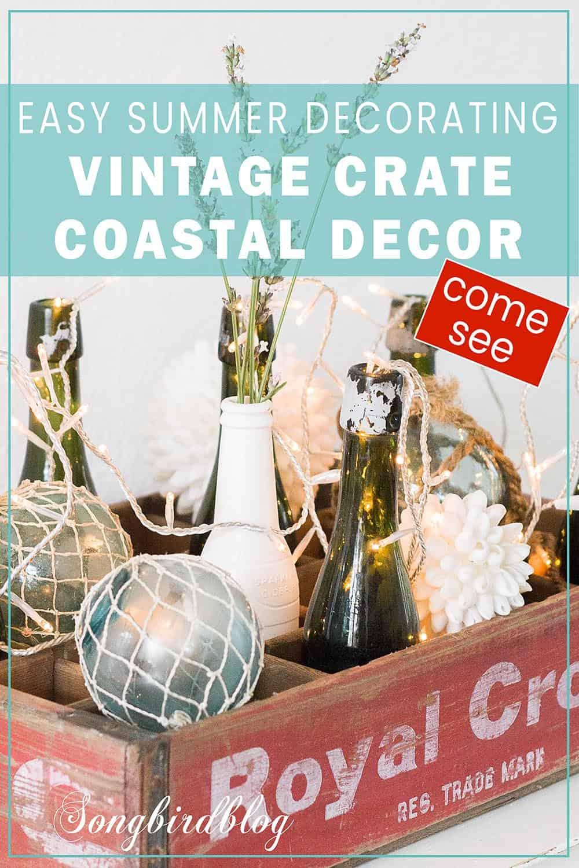 vintage crate coastal decor idea