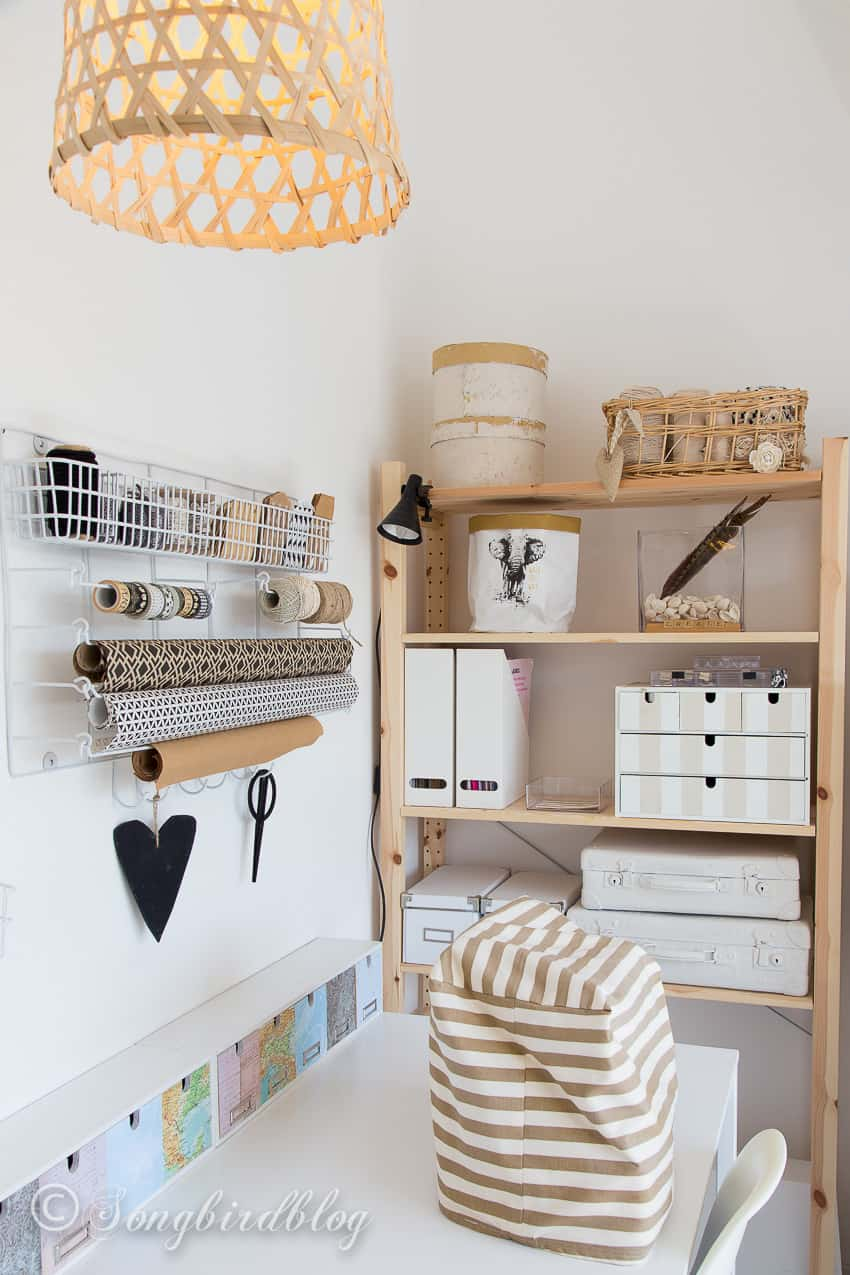 Craft room tour in a small attic space with creative storage ...