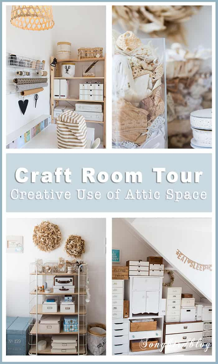 Come tour my new craft room. It is a small space up in the attic so I had to get creative with finding storage solutions. Check out my craft room organization ideas.  #craftroom #organization #sewing #attic #whiteliving #storage